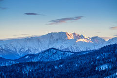 Sunrise winter mountains panorama Royalty Free Stock Images