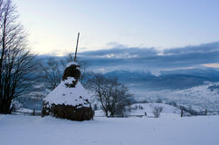 Sunrise in winter mountains . Sunrise in Carpathian Mountains, U Royalty Free Stock Photography
