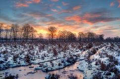 Sunrise in winter Stock Photos