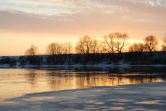 Sunrise with winter river Royalty Free Stock Photos