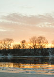 Sunrise with winter river Stock Photography
