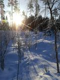 Sunrise in winter. Sunrise in very cold winter morning in finland Stock Photos