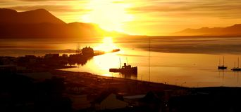 Sunrise at The Worlds End. A beautiful colourful Sunrise at Ushuaia harbour at The Worlds End, Ushuaia Patagonia Stock Photography