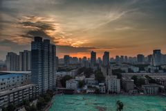 Sunrise in Xi`an, China royalty free stock photography