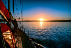 Sunrise from yacht Royalty Free Stock Photography