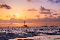 Sunrise and yachts. Coastal landscape of Atlantic ocean Royalty Free Stock Photography