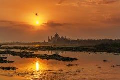 Sunrise Yamuna River and Taj Mahal. A vibrant sunrise of the Taj Mahal along the Yamuna river Stock Photos