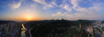 The Sunrise of Yanan City Royalty Free Stock Photos
