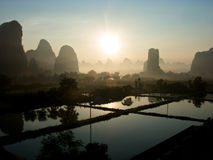 Sunrise in Yangshuo. Yangshuo is know to be a heaven on earth. Sometimes known only for a name of a close city Guilin Royalty Free Stock Photo