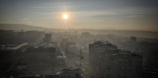 Sunrise. Yerevan City, Armenia. Gorgeous view of the Mt. Ararat from the Armenian plateau. This photo is taken from the roof of the 18 floor building in Yerevan Royalty Free Stock Photography