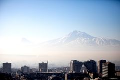 Sunrise. Yerevan City, Armenia. Gorgeous view of the Mt. Ararat from the Armenian plateau. This photo is taken from the roof of the 18 floor building in Yerevan Royalty Free Stock Images