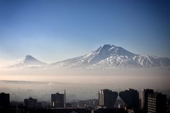 Sunrise. Yerevan City, Armenia. Gorgeous view of the Mt. Ararat from the Armenian plateau. This photo is taken from the roof of the 18 floor building in Yerevan Stock Photos