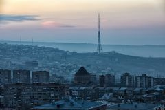 Sunrise. Yerevan City, Armenia. Gorgeous view of the Mt. Ararat from the Armenian plateau. This photo is taken from the roof of the 18 floor building in Yerevan Stock Photography
