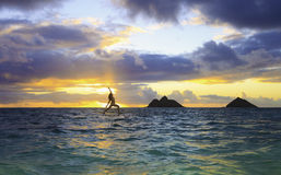 Sunrise yoga on paddle board Royalty Free Stock Photography