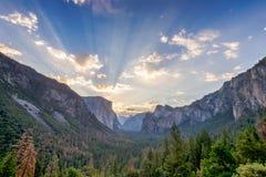 Sunrise at Yosemite Valley vista point Stock Images