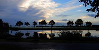 Sunrise at the Zijl river in Leiden, Netherlands royalty free stock photos