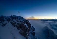 Sunrise on Zugspitze, Germany. Sunrise on Zugspitze with summit cross, Germany Stock Image