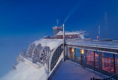 Sunrise on Zugspitze, Germany. Sunrise on Zugspitze with summit house, Germany Royalty Free Stock Images