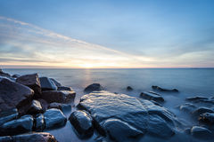 SunriseLake Superior. Rocky shore of Lake Superior during dusk time Royalty Free Stock Image