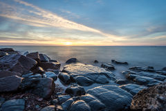 SunriseLake Superior. Rocky shore of Lake Superior during dusk time Royalty Free Stock Images