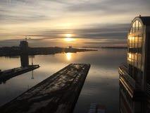 Sunriseover波士顿港口 免版税库存图片