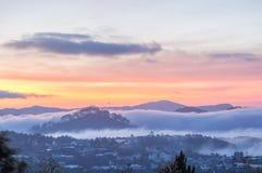 Sunrises, fog and red cloud  somwhere near Dalat city - in Dalat- VietNam Royalty Free Stock Photos