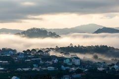 Sunrises, fog and red cloud  somwhere near Dalat city - in Dalat- VietNam Royalty Free Stock Images
