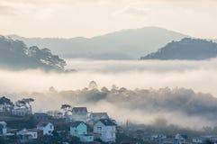 Sunrises, fog and red cloud  somwhere near Dalat city - in Dalat- VietNam Royalty Free Stock Photo