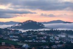 Sunrises, fog and red cloud somwhere near Dalat city - in Dalat- VietNam. Sunrises somwhere near Dalat city - in Dalat- VietNam- LamDong- VietNam royalty free stock image
