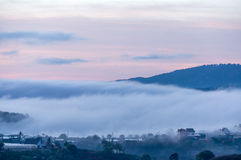 Sunrises, fog and red cloud somwhere near Dalat city - in Dalat- VietNam. Sunrises somwhere near Dalat city - in Dalat- VietNam- LamDong- VietNam stock photography