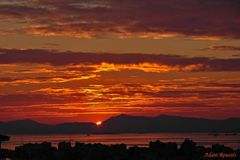 Sunrises sunsets in a ocean stock photos