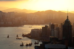 Sunrises of the Victoria Harbor Royalty Free Stock Photo