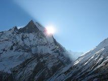 Sunrize at Himalaya. Machhapuchhre mountain- Fishtail, Nepal, Himalaya royalty free stock image