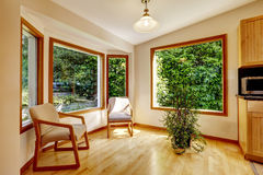 Sunroom interior with two chairs. And decorative tree royalty free stock images