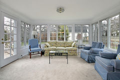 Sunroom with patio view. Sunroom porch with door leading to patio Royalty Free Stock Photography