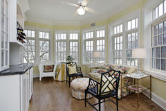 Sunroom with wall of windows. Sun room with wall of windows stock image