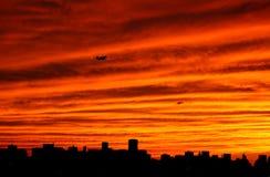 Sunrset em New York fotografia de stock
