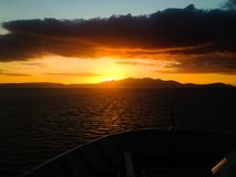 Arran Ferry Sunset royalty free stock photography