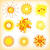 Suns. A set of different suns - vector illustration Royalty Free Stock Images