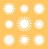 Suns collection vector Royalty Free Stock Image