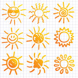 Suns . Elements for design. Doodles. Stock Images