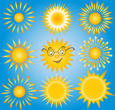 Suns - elements for design (set of vector suns, Stock Photo