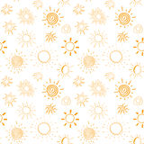Suns hand drawn doodles Seamless pattern background vector illustration Stock Image