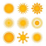 Suns icon set collection, vector illustration isolated on white background. royalty free illustration