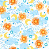 Suns Seamless Pattern. Suns, Clouds, and Stars Seamless Repeat Pattern Vector Illustration eps Stock Photos