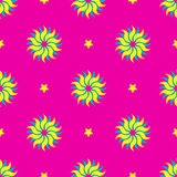 Suns and stars colorful vibrant seamless geometric pattern vector retro design background purple yellow turquoise Royalty Free Stock Photos