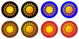 Suns or variety of images of the sun, sunny logo, icon, label Royalty Free Stock Image