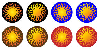 Suns or variety of images of the sun, sunny logo, icon, label Royalty Free Stock Photo
