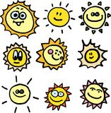 Suns vector set. Nine smiling vector suns on white background Stock Images