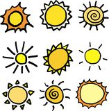 Suns vector set. Nine vector suns on white background Royalty Free Stock Images